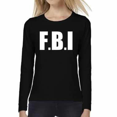 Dames fun text t-shirt long sleeve politie fbi zwart prijs