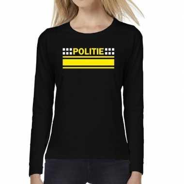 Dames fun text t-shirt long sleeve politie logo zwart prijs