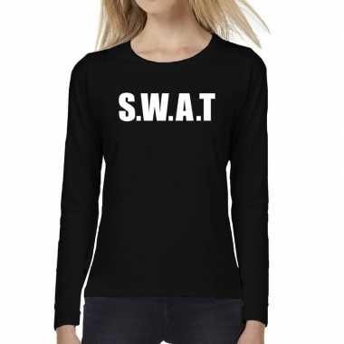 Dames fun text t-shirt long sleeve swat zwart prijs