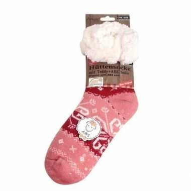 Dames gebreide anti-slip huissokken/slofsokken barok roze mt 39-42 pr