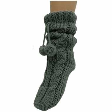 Dames sokken voor in huis antracietgrijs prijs