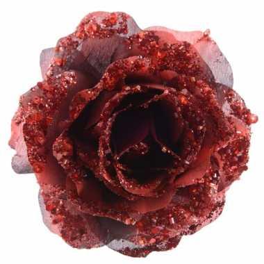 Decoratie kunstroos rood op clip 14 cm prijs