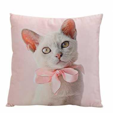 Decoratie kussens witte kat 34 cm prijs