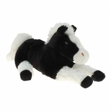 Dieren knuffel paard/pony zwart/wit 30 cm prijs