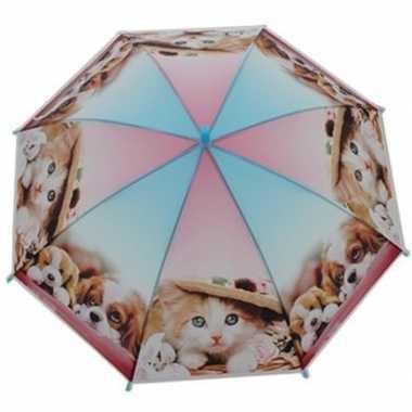 Dierenprint parapluutje 70 cm kat/poes/hond voor kinderen prijs