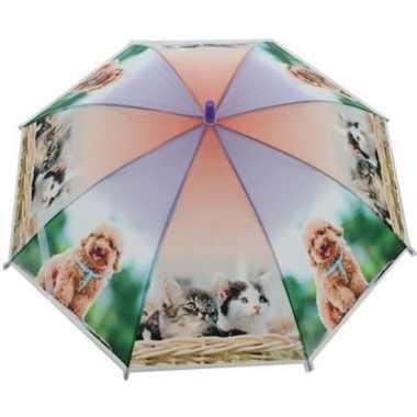 Dierenprint parapluutje 70 cm kat/poes voor kinderen prijs