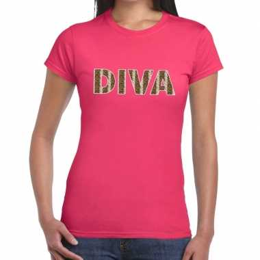 Diva slangen print fun t-shirt roze voor dames prijs