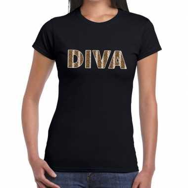 Diva slangen print fun t-shirt zwart voor dames prijs