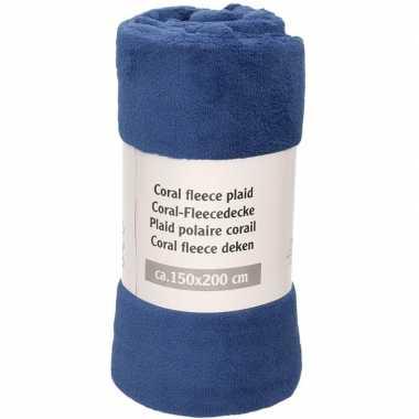 Donker indigo blauwe warme fleece deken/plaid 150 x 200 cm prijs