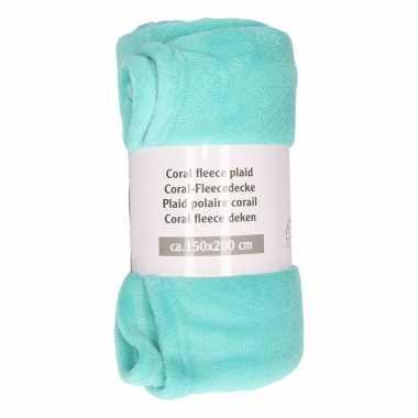 Donker mintgroene warme fleece deken 150 x 200 cm prijs