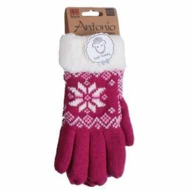 Donker roze winterhandschoenen nordic voor dames prijs