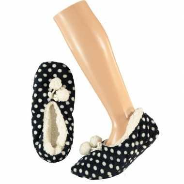 Donkerblauwe ballerina meisjes pantoffels/sloffen met stippenprint ma