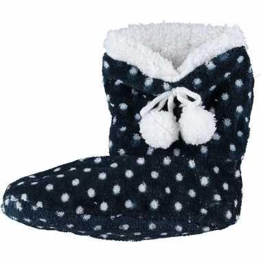 Donkerblauwe hoge sloffen/pantoffels stippen voor meisjes maat 31-33