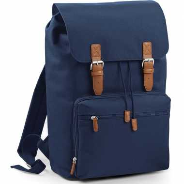 Donkerblauwe vintage schooltas/boekentas 49 cm prijs