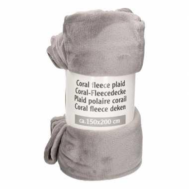 Donkergrijze warme fleece deken 150 x 200 cm prijs
