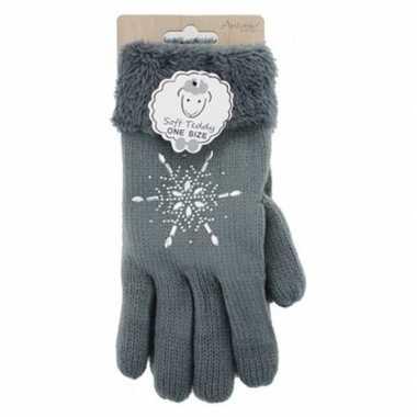 Donkergrijze winterhandschoenen ster diamant voor dames prijs