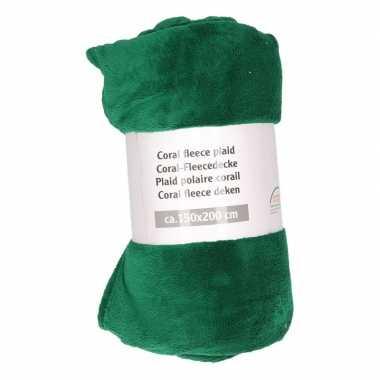Donkergroene warme fleece deken 150 x 200 cm prijs