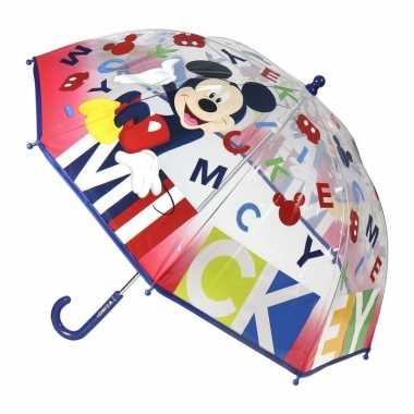 Doorzichtige mickey mouse paraplu voor jongens 71 cm prijs