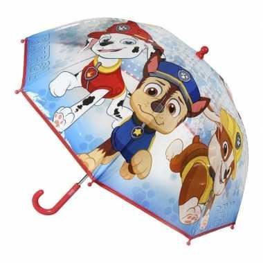 Doorzichtige paw patrol paraplu voor jongens 71 cm prijs