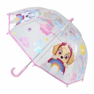 Doorzichtige paw patrol paraplu voor meisjes 71 cm prijs