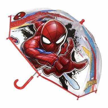Doorzichtige spiderman paraplu voor jongens 71 cm prijs