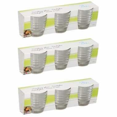 Drinkglazen 220 ml 9 stuks prijs