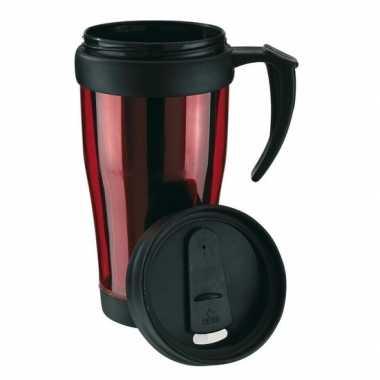 Dubbelwandige thermosbeker rood/zwart 400 ml prijs