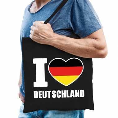 Duitsland schoudertas i love deutschland zwart katoen prijs