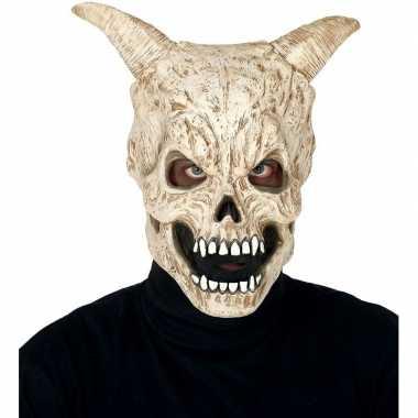 Duivel schedel met hoorns horror/halloween masker van latex prijs