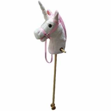 Eenhoorn stokpaarden speelgoed 105 cm wit/roze met geluid prijs