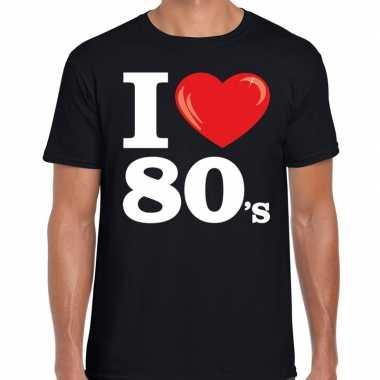 Eighties shirt met i love 80s bedrukking zwart voor heren prijs