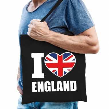 Engeland schoudertas i love england zwart katoen prijs