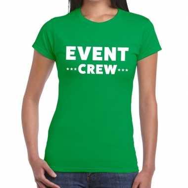 Evenement crew t-shirt groen met event crew bedrukking voor dames pri