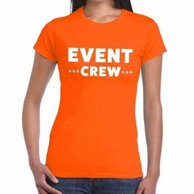 Evenement crew t-shirt oranje met event crew bedrukking voor dames pr