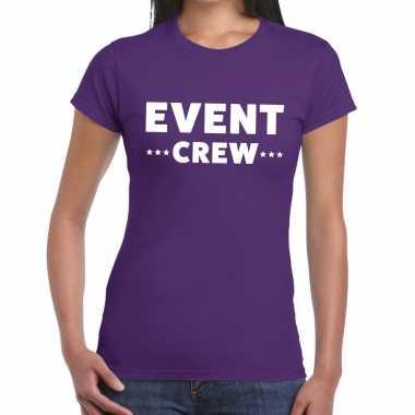 Evenement crew t-shirt paars met event crew bedrukking voor dames pri