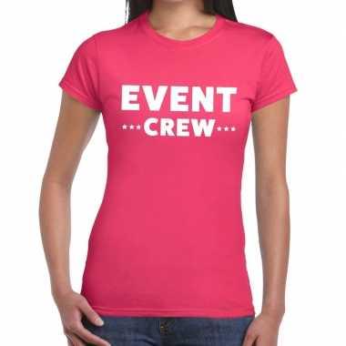 Evenement crew t-shirt roze met event crew bedrukking voor dames prij