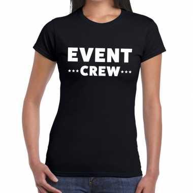 Evenement crew t-shirt zwart met event crew bedrukking voor dames pri
