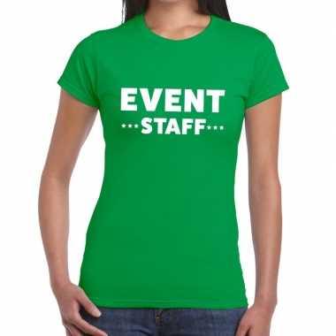 Evenement personeel t-shirt groen met event staff bedrukking voor dam