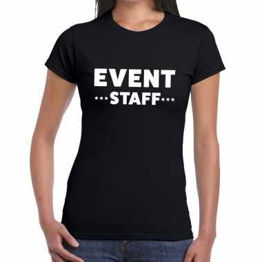 Evenement personeel t-shirt zwart met event staff bedrukking voor dam