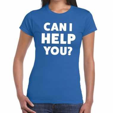Evenementen tekst t-shirt blauw met can i help you bedrukking voor da