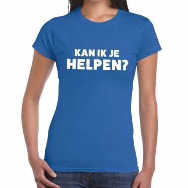 Evenementen tekst t-shirt blauw met kan ik je helpen bedrukking voor