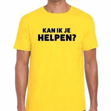 Evenementen tekst t-shirt geel met kan ik je helpen bedrukking voor h