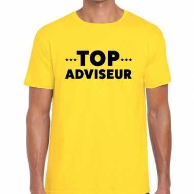 Evenementen tekst t-shirt geel met top adviseur bedrukking voor heren