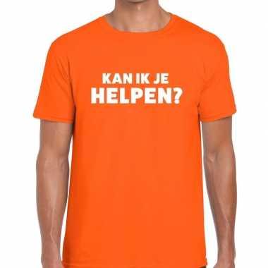 Evenementen tekst t-shirt oranje met kan ik je helpen bedrukking voor