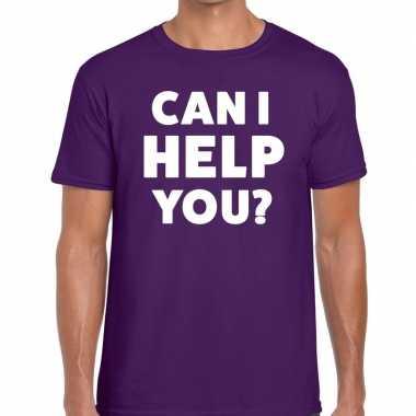 Evenementen tekst t-shirt paars met can i help you bedrukking voor he