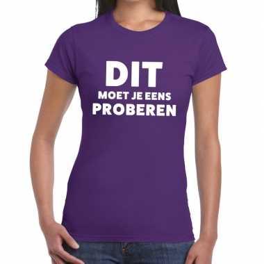 Evenementen tekst t-shirt paars met dit moet je eens proberen bedrukk