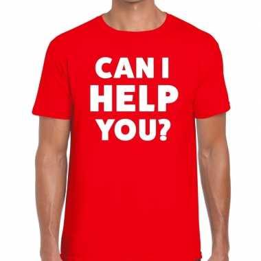 Evenementen tekst t-shirt rood met can i help you bedrukking voor her