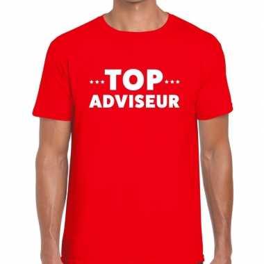 Evenementen tekst t-shirt rood met top adviseur bedrukking voor heren