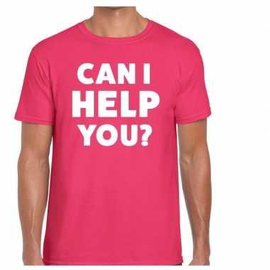 Evenementen tekst t-shirt roze met can i help you bedrukking voor her