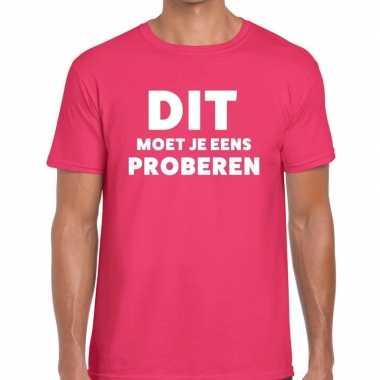 Evenementen tekst t-shirt roze met dit moet je eens proberen bedrukki